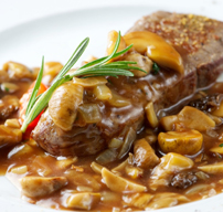 Grilled sirloin steak with red wine mushroom sauce