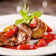 Young duck breast with chili-mint strawberry