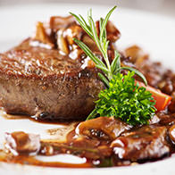 Beef steak with Chianti sauce, and forest mushroom